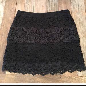 NWT FREE PEOPLE Black Lace Crochet Skirt